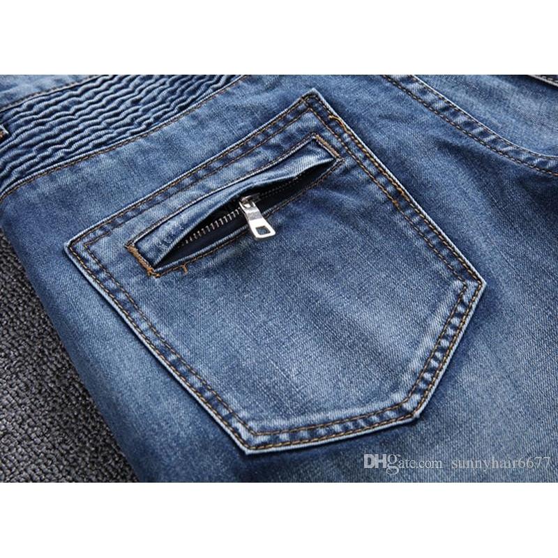 Wholesale blue/black destroyed mens slim denim straight biker skinny jeans Casual Long men ripped jeansNZ01