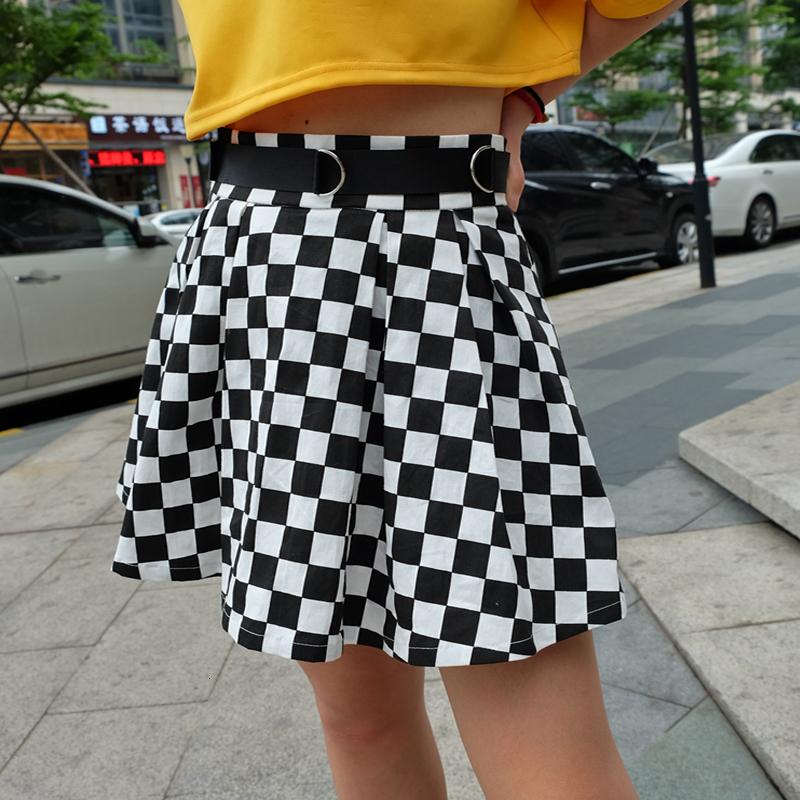 7Sweetown Korean Fashion Checkerboard Pleated Skirts Womens Sashes High Waist Zipper Cotton Short Skirt Woman Summer Skirts
