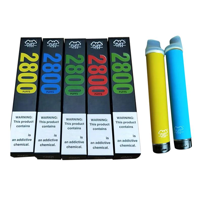 Original Puff Flex Disposable Device E cigarettes Vape Kits 2800 Puffs 1500mAh Battery 10ml Prefilled Cartridges PuffBar bar Vapes Pen