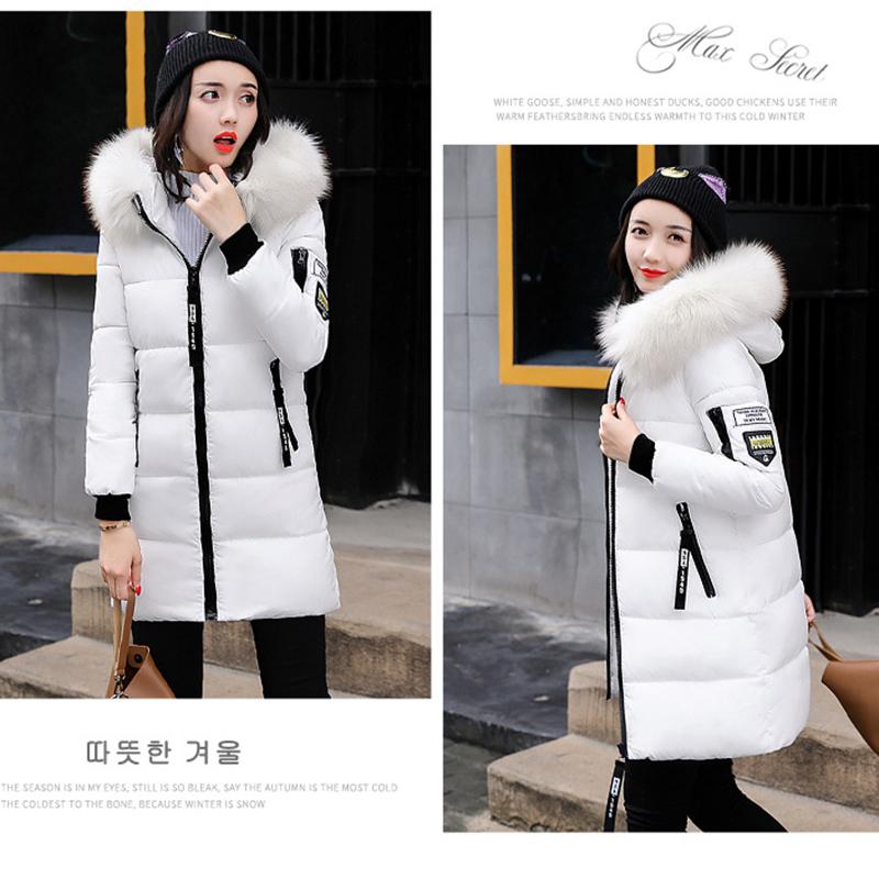 STAINLIZARD Winter jacket women warm casual hooded long parkas women coat streetwear cotton white female jacket coat outwear new (36)