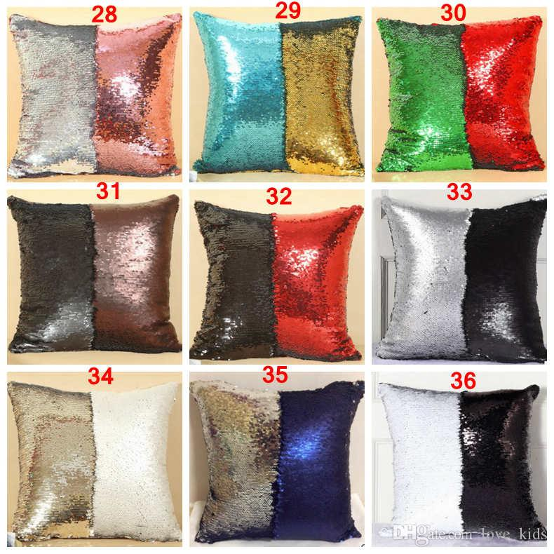 DHL Double Sequin Pillow Case cover Glamour Square Pillow Case Cushion Cover Home Sofa Car Decor Christmas sequined Pillow Covers