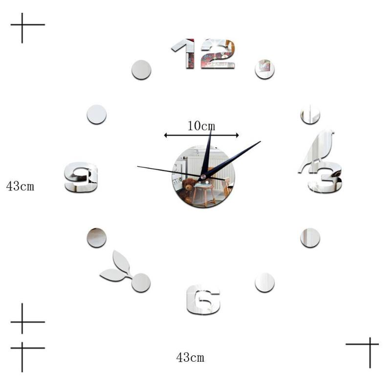 New Morden Clock Watch Wall Clocks Horloge 3D DIY Black Bird Acrylic Mirror Stickers Home Decoration Living Room Quartz Needle