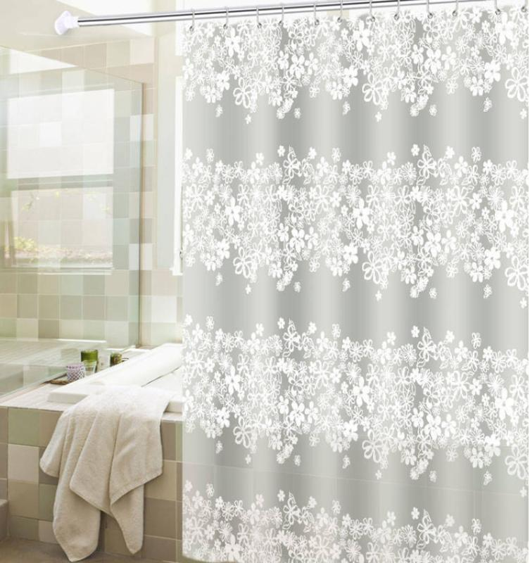 New Waterproof Flower PEVA Shower Curtain Bath Curtains Bathroom For Bathtub Bathing Cover Liner Transparent Mildew YC1