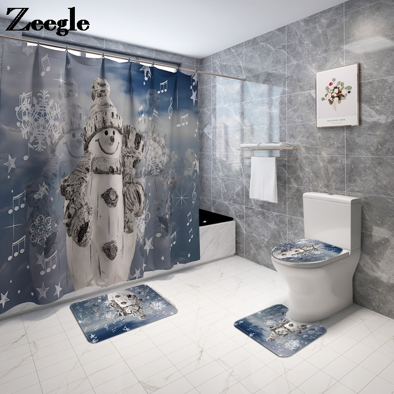 Christmas Bath Mat and Shower Curtain Set Printed Bathroom Mat Set Anti Slip Bathroom Foot Mat Absorbent Bathroom Carpet