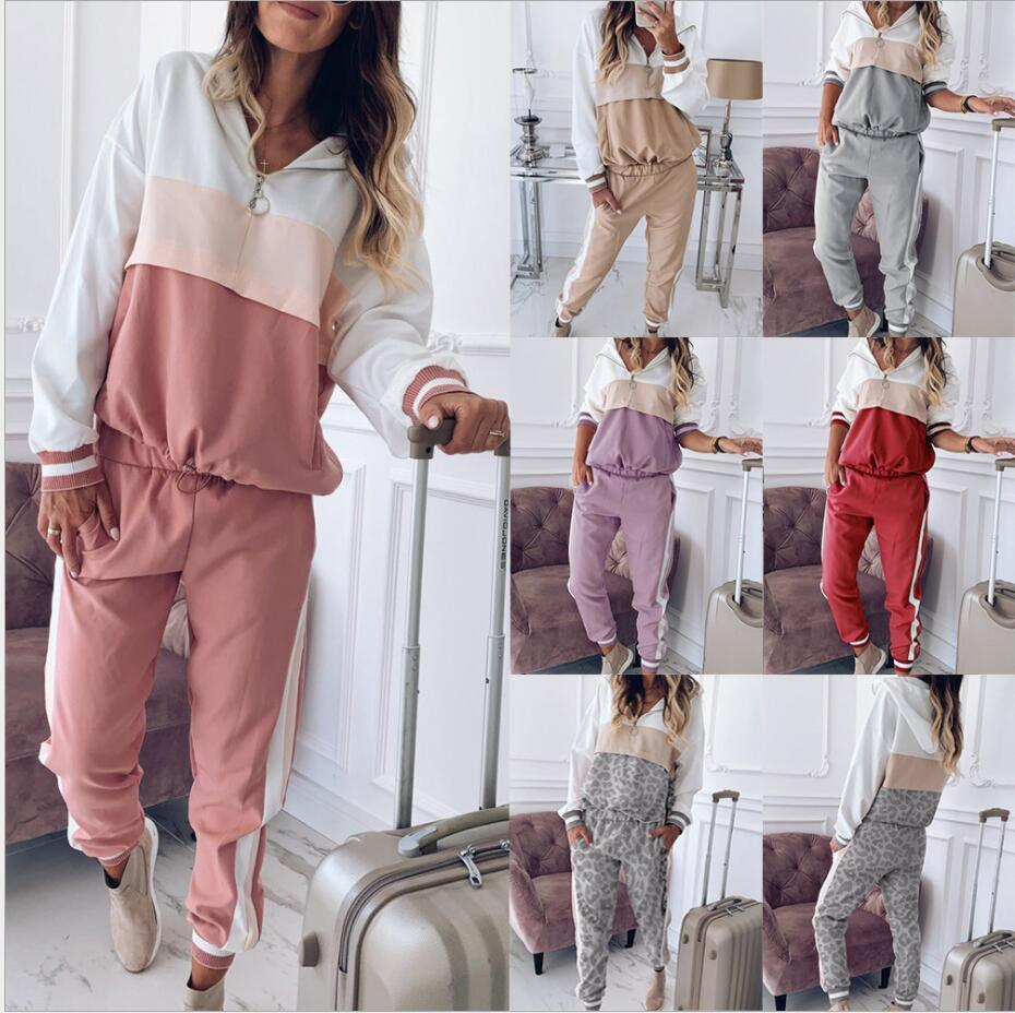 Pink New Women active set tracksuits Hoodies Sweatshirt +Pant Running Sport Track suits jogging sets survetement femme clothes