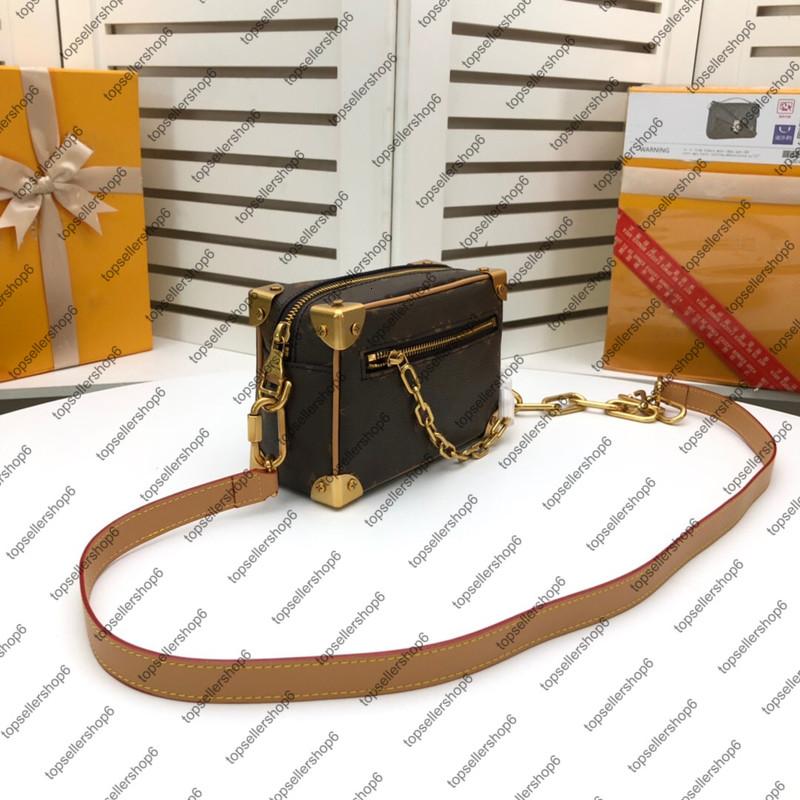 M44730 M55700 SOFT TRUNK Men Women Box Messenger Bag Purse Canvas Cowhide Luxury Designer Leather Chain Handbag Shoulder Bags