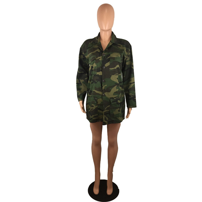 Spring Women Camouflage Jackets Casual Womens Letter Printed Coats Fashion Designer Lapel Neck Coat with Single Breasted