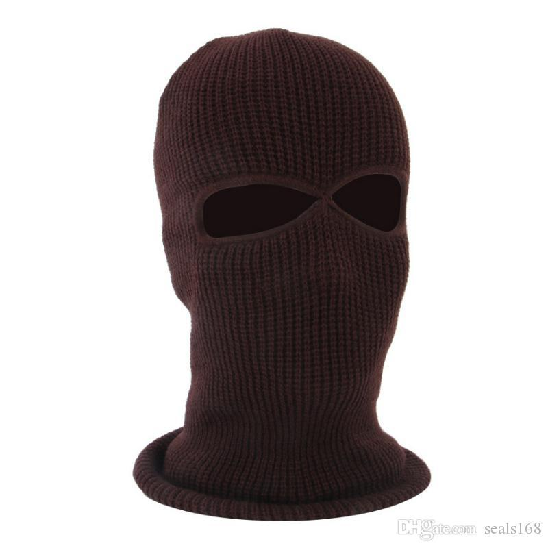 New Knit 3 Hole Face Mask Ski Mask Balaclava Hat Face Beanie Cap Snow Winter Motorcycle Helmet Hat Designer Masks HH9-2975