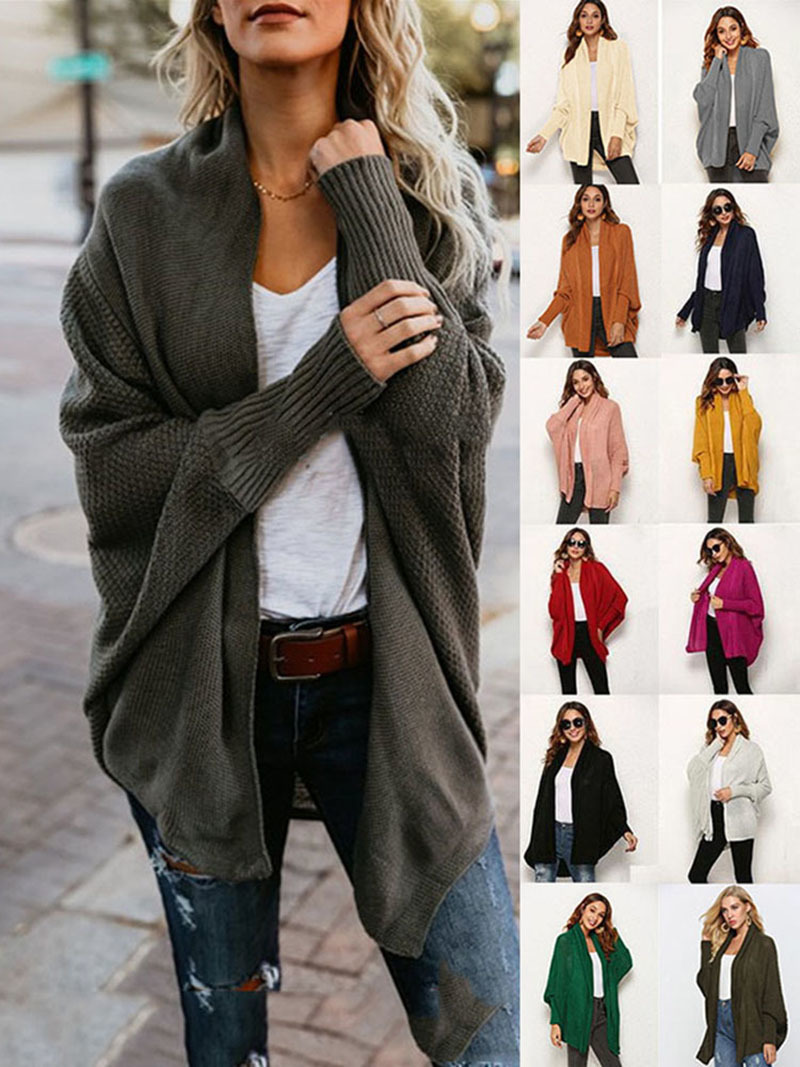 2019 winter new women sweaters casual plus size batwing sleeve kintted winter women cardigan ladies tops clothing (21)