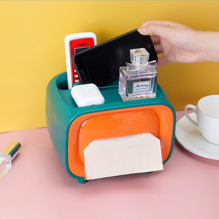 tissue box Multifunctional stainless steel retro Creative Desktop TV Desktop paper Box Bathroom Organizer big capcity