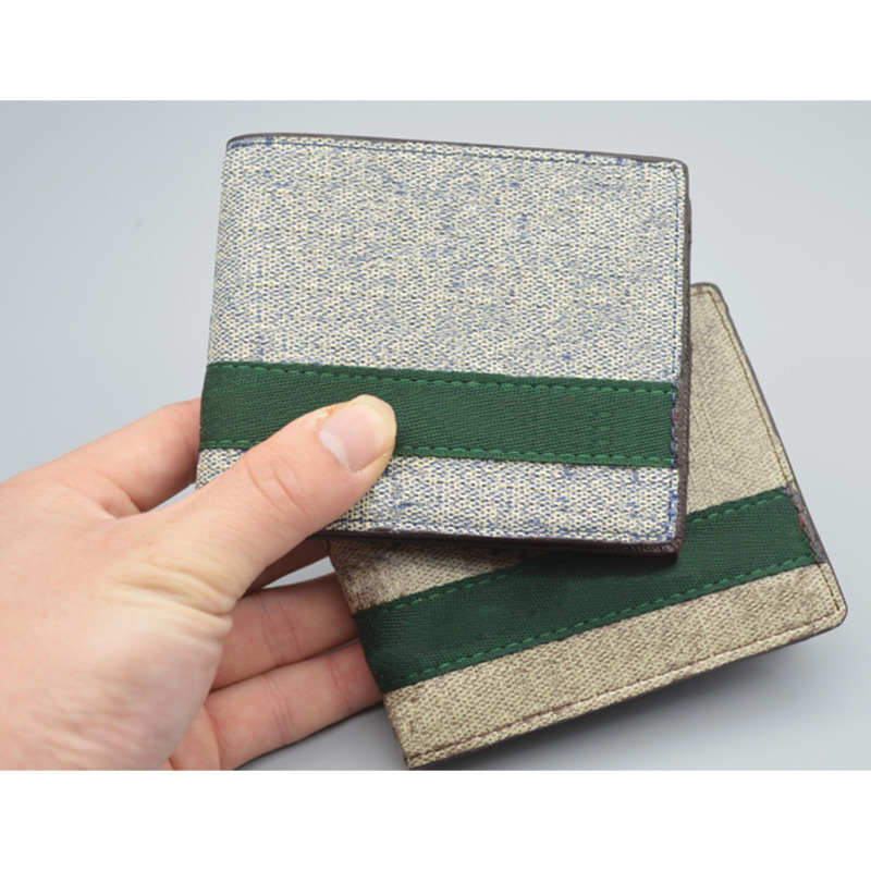 Designer men and women classic canvas striped short wallet Fashion wallet classic style