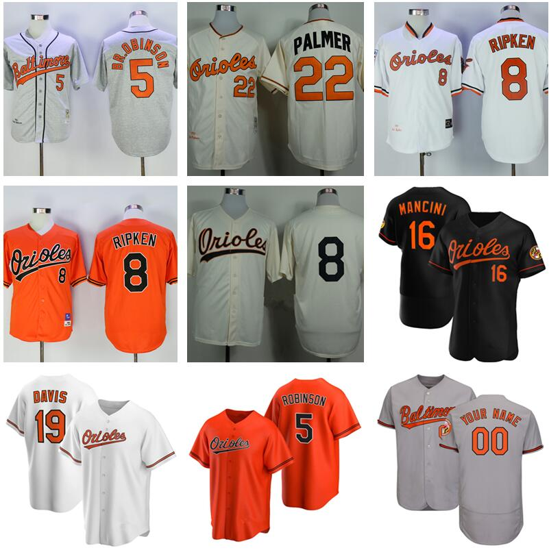 Men Baseball 8 Cal Ripken Jersey JR 20 Frank Robinson 5 Brooks Robinson 22 Jim Palmer 19 Chris Davis 16 Trey Mancini 39 Renato Nunez Stitch