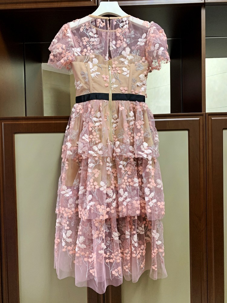 Elegant-Ruffles-Short-Sleeve-Pink-Mesh-Floral-Embroidery-Long-Party-Dress-2019-Summer-Women-High-Quality