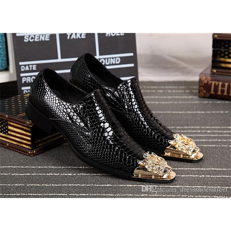 New Arrival Italy Mens Genuine Leather Metal Tip Formal Dress Shoes Party Wedding Shoes Business Style Suit Shoes