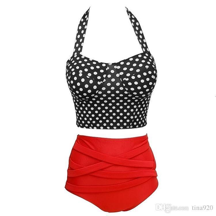 Details about Vintage Retro Pin up Rockabilly polka dot high waisted 2 style bikini Swimwear swimsuit