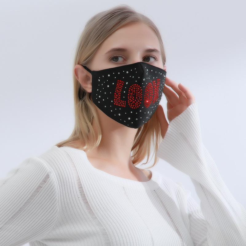 Fashion Designed Women Party Face Masks Sequined Cloth Mouth Masks For Valentine`s Day Wear Can Insert PM2.5 Filters FY0115