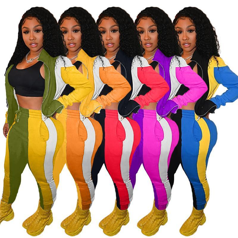 women hoodie legging set outfits long sleeve tracksuit jacket pants sportswear bodycon outerwear tights sports set hot klw5659
