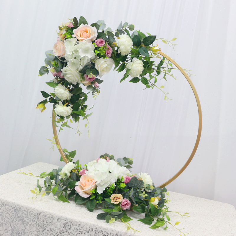 JAROWN New Wedding Party Table Centerpiece Flower Stand Artificial Flowers Home Round Backdrop Frame Shelf Decoration Accessories (2)