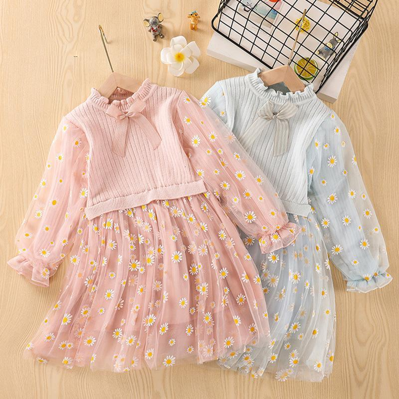 Kids fashion dresses for girl 2020 Autumn winter Girl sweater dress children clothing flower sweater girl princess dress