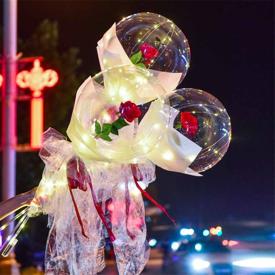 LED Luminous Balloon Rose Bouquet Transparent Bobo Ball Rose Valentines Day Gift Birthday Party Wedding Decoration Balloons