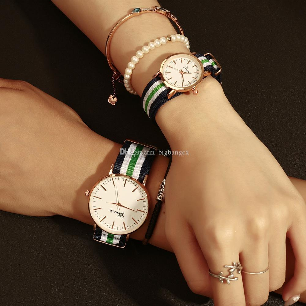 New Couple Men Women Watches Luxury Geneva Quartz Watch Nylon Rose Gold Clock Women men Student Couple love clock