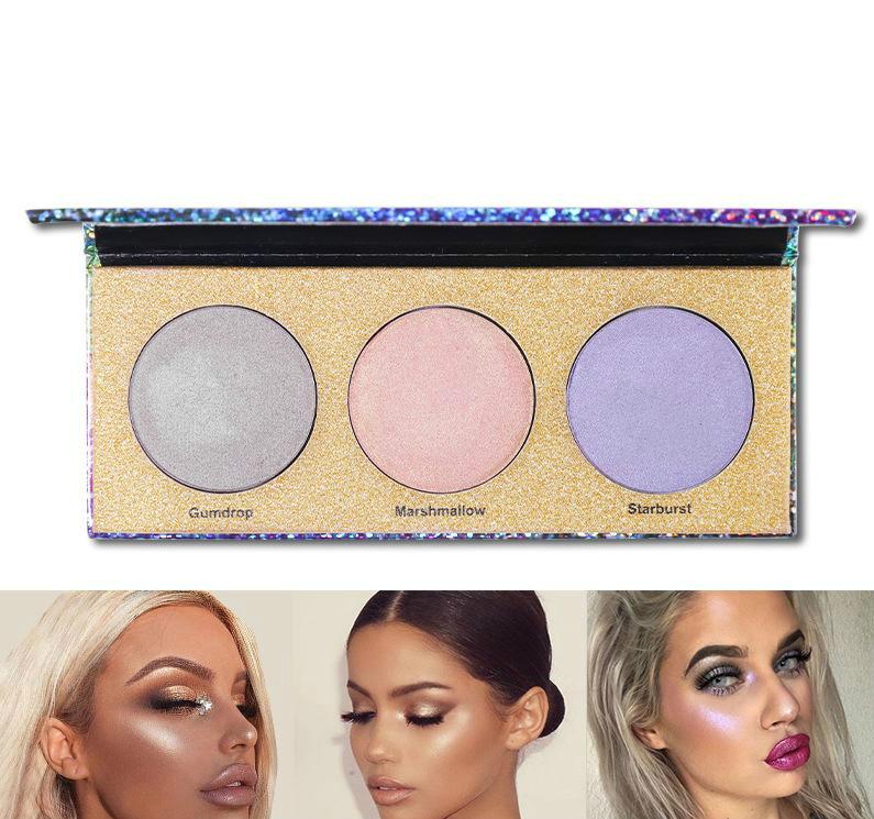 Highlighter Palette High Gloss Powder Laser Eyeshadow Polarzied Makeup Palette Brighten Face Makeup Bronzers&Highlight