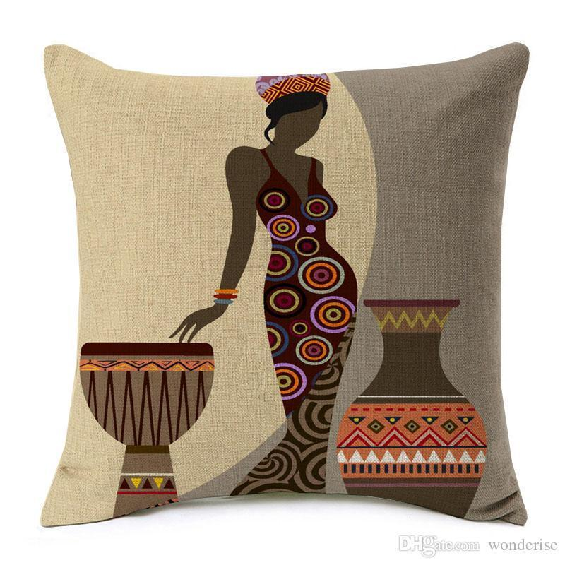 18 Styles Modern Fashion African Woman Dance Cushion Covers Folk Exotic Africa Life Painting Map Art Cushion Cover Sofa Linen Pillow Case