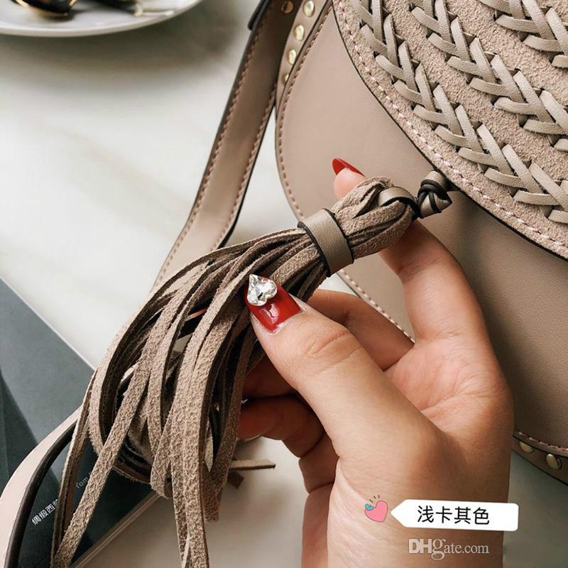 Classic Vintage Woven Saddle Bag Women Designer Handbags Tassel Suede Braided Cowhide Rivet Tassel Shoulder Bags Cross body Messenger bag