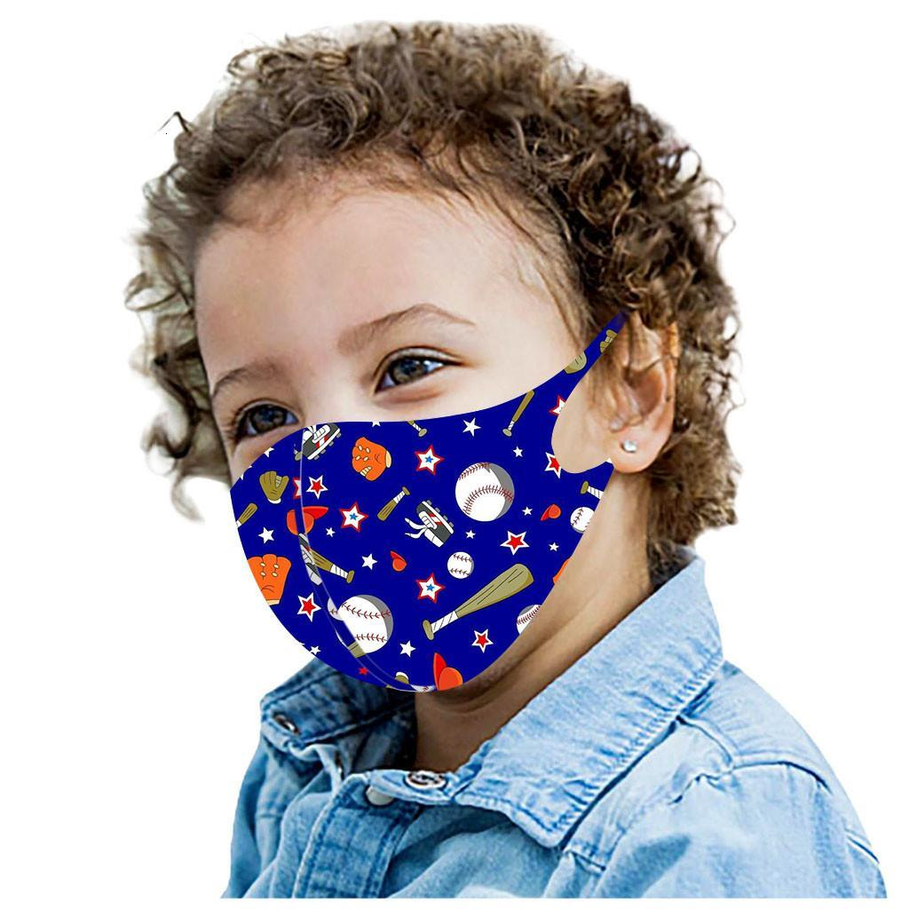 DHL Shipping Kids Cartoon Mask Football Print Mouth Cover Ice Silk Anti-Dust Masks PM2.5 Face Shield Adult Party Mask 6 Styles X701FZ