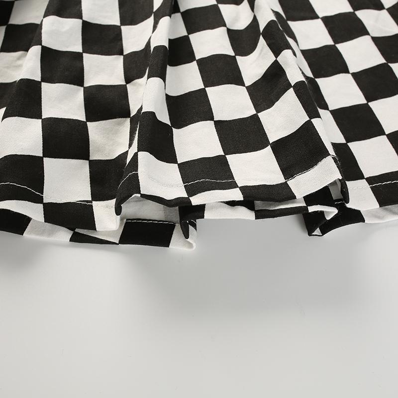 14Sweetown Korean Fashion Checkerboard Pleated Skirts Womens Sashes High Waist Zipper Cotton Short Skirt Woman Summer Skirts