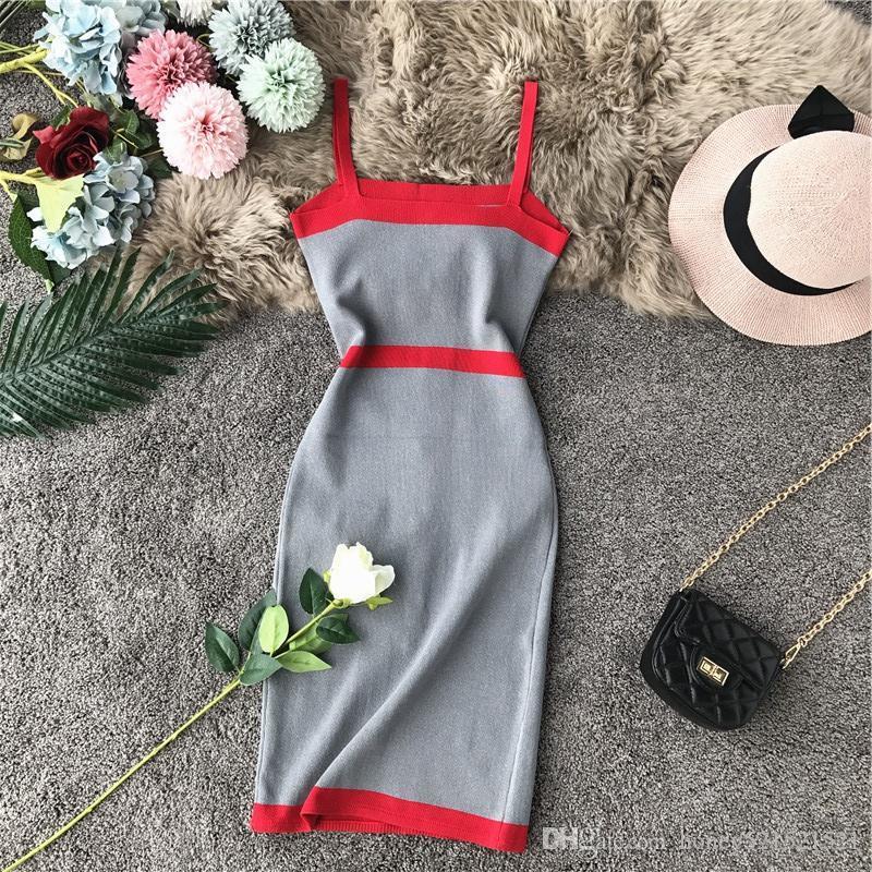 New design women's fashion retro elegant single breasted patchwork spaghetti strap knitted pencil dress color block short dress