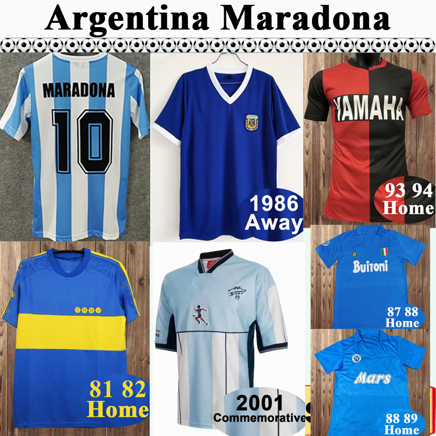 1987 1989 Napoli Mens RETRO Soccer Jerseys Argentina MARADONA Home Away Football Shirt 1981 1982 Boca Juniors Short Sleeve