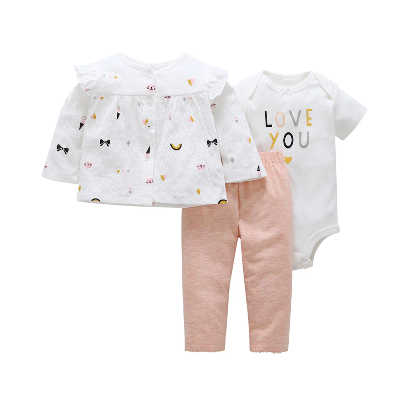 fashion spring autumn infant baby girl clothes set o-neck cardigan+letter romper+pant pink newborn 3PCS fall outfits
