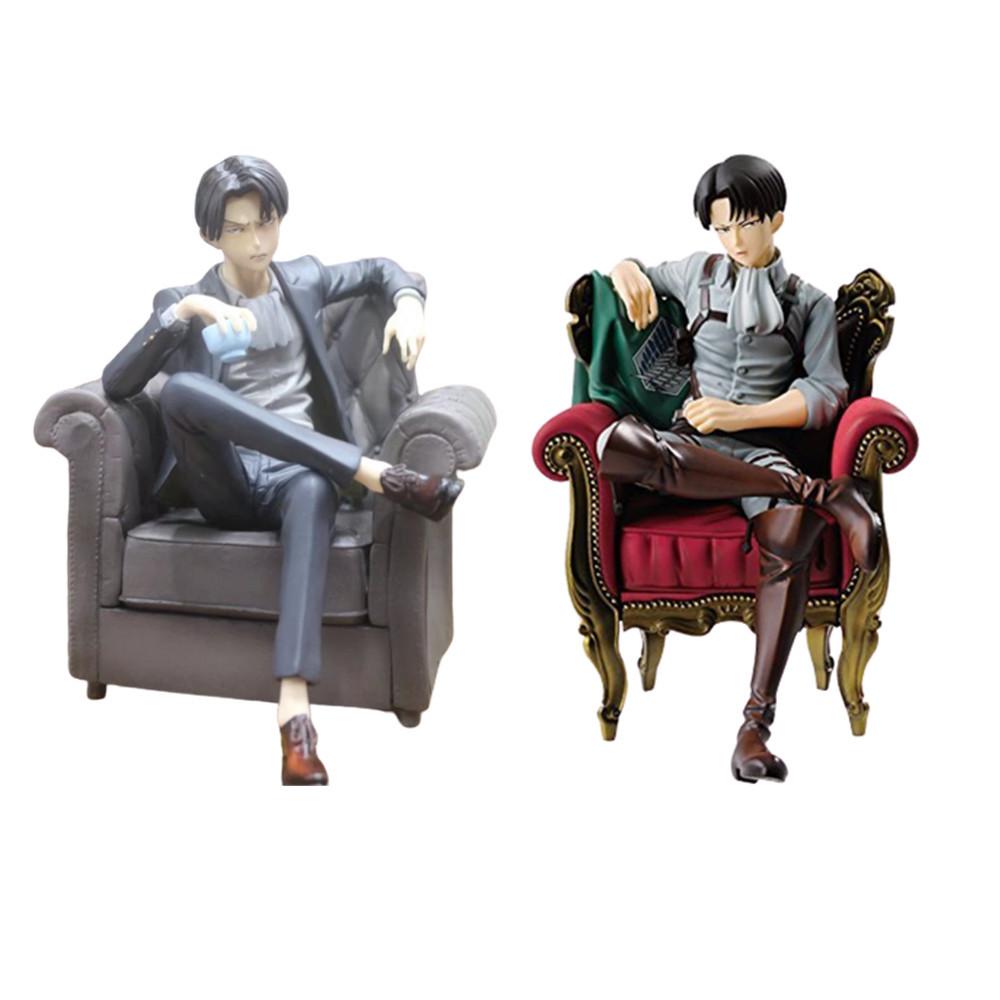 Anime Figures Attack on Titan Levi Ackerman Rivaille Sitting Soft Black Suit Action Figma PVC Toys Ichiban Levi Model Kids Doll
