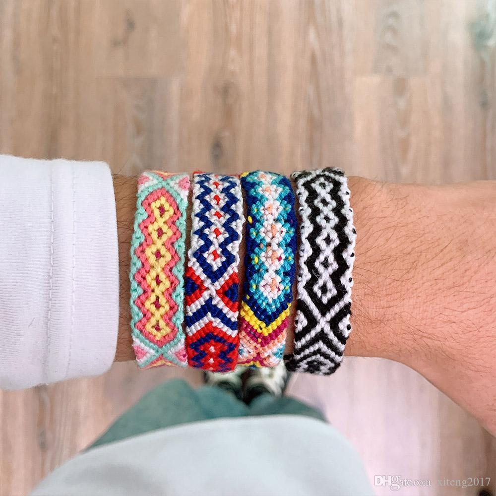 Bohemia Anklets Colorful Summer Beach Multicolor String Cord Woven Braided Friendship Bracelets For Women Men Wholesale Jewelry Free Shippi