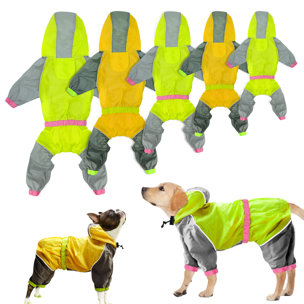 Dog Hodded Raincoat Reflective Dogs Rain Jacket Waterproof Pet Jacket Jumpsuit Pets Rainwear Clothes Appreal for Labrador
