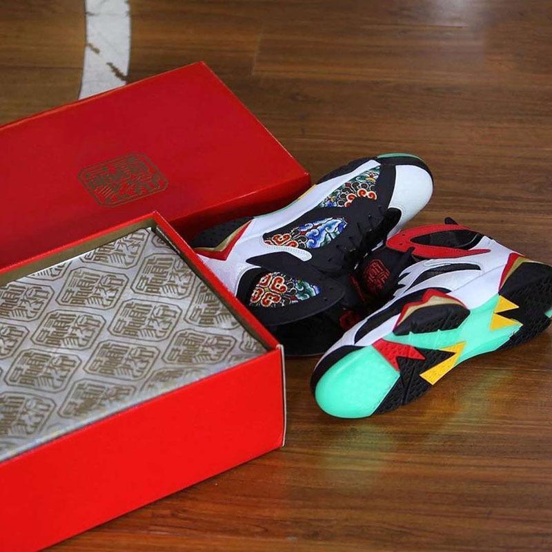 7 GC China White Chile Red Black Women Men Basketball Shoes Sports Sneaker dragon motif Metallic Gold embroidered Jumpman Trainer