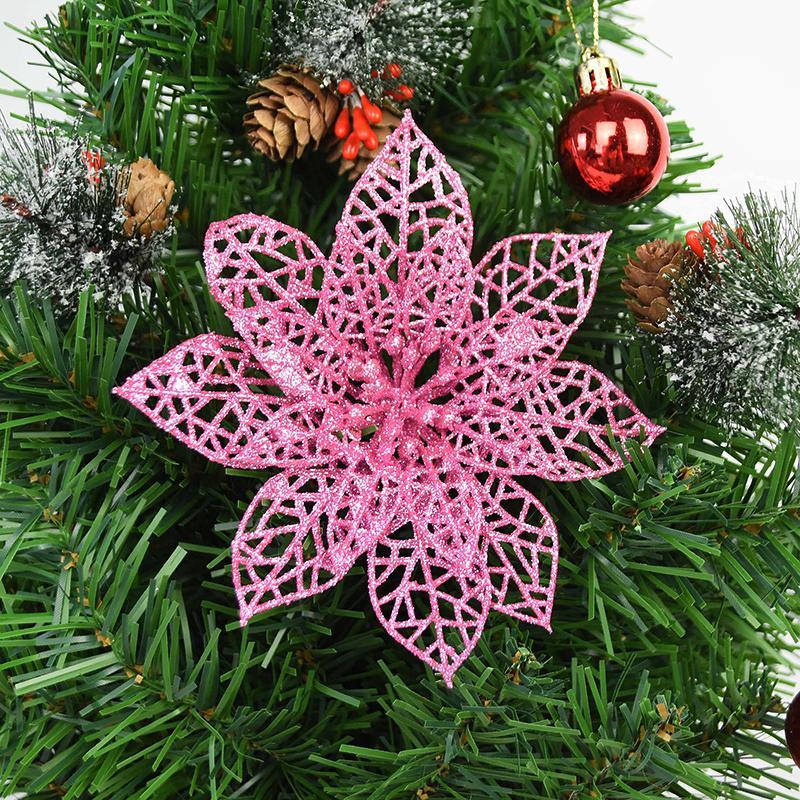 16pcs Glitter Artificial Flowers 5 9 Gold Christmas Tree Decorations Flowers Xndryan Christmas Tree Flowers