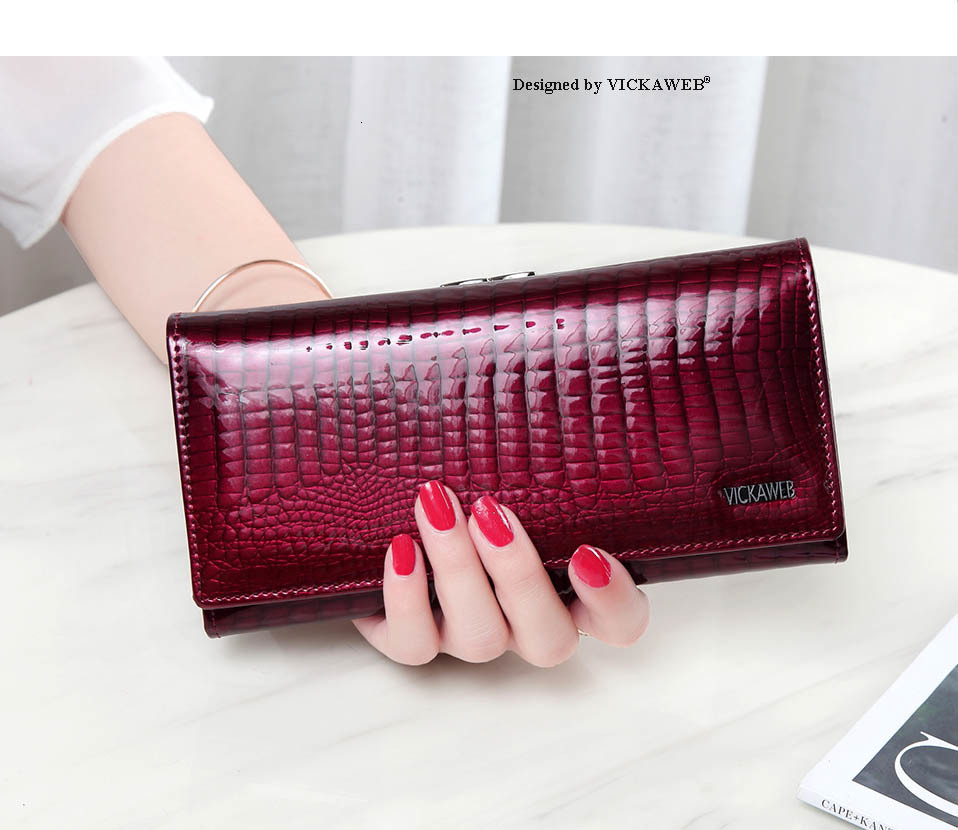 VICKAWEB Long Thick Wallet Female Fashion Alligator Purse Women Genuine Leather Standard Wallets Hasp womens wallets and purses-AE1518-010