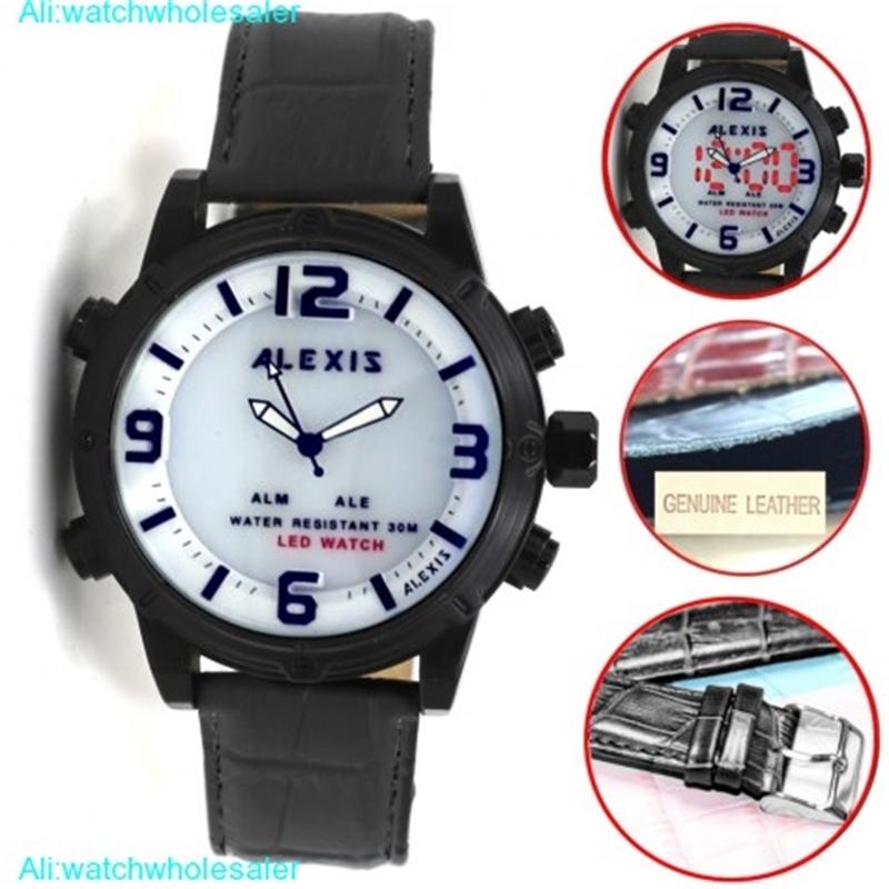 AW802H Black Watchcase LED BackLight Water Resist Men Women Analog Digital Watch