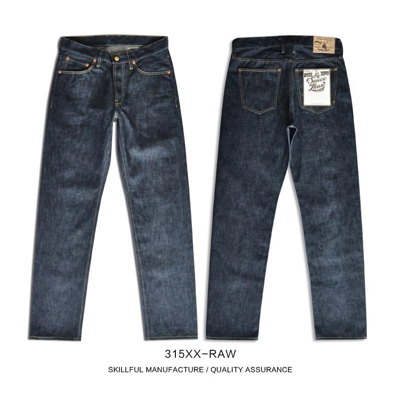SauceZhan 315XX-RAW Mens Taper Jeans Jean Selvedge Mens Jeans Brand Raw Denim Men Jeans Unsanforized Denim Selvedge Denim 201120