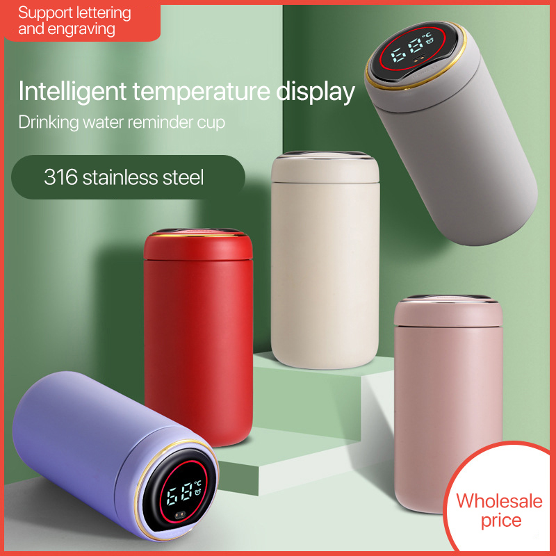 Smart stainless steel thermos water cup temperature display airless travel can be timed coffee cup thermos water cup