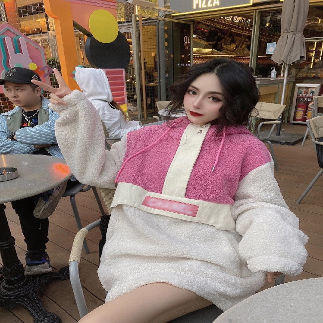 Highest quality women hoodieswool warm women jacket lamb wool winter women clothing