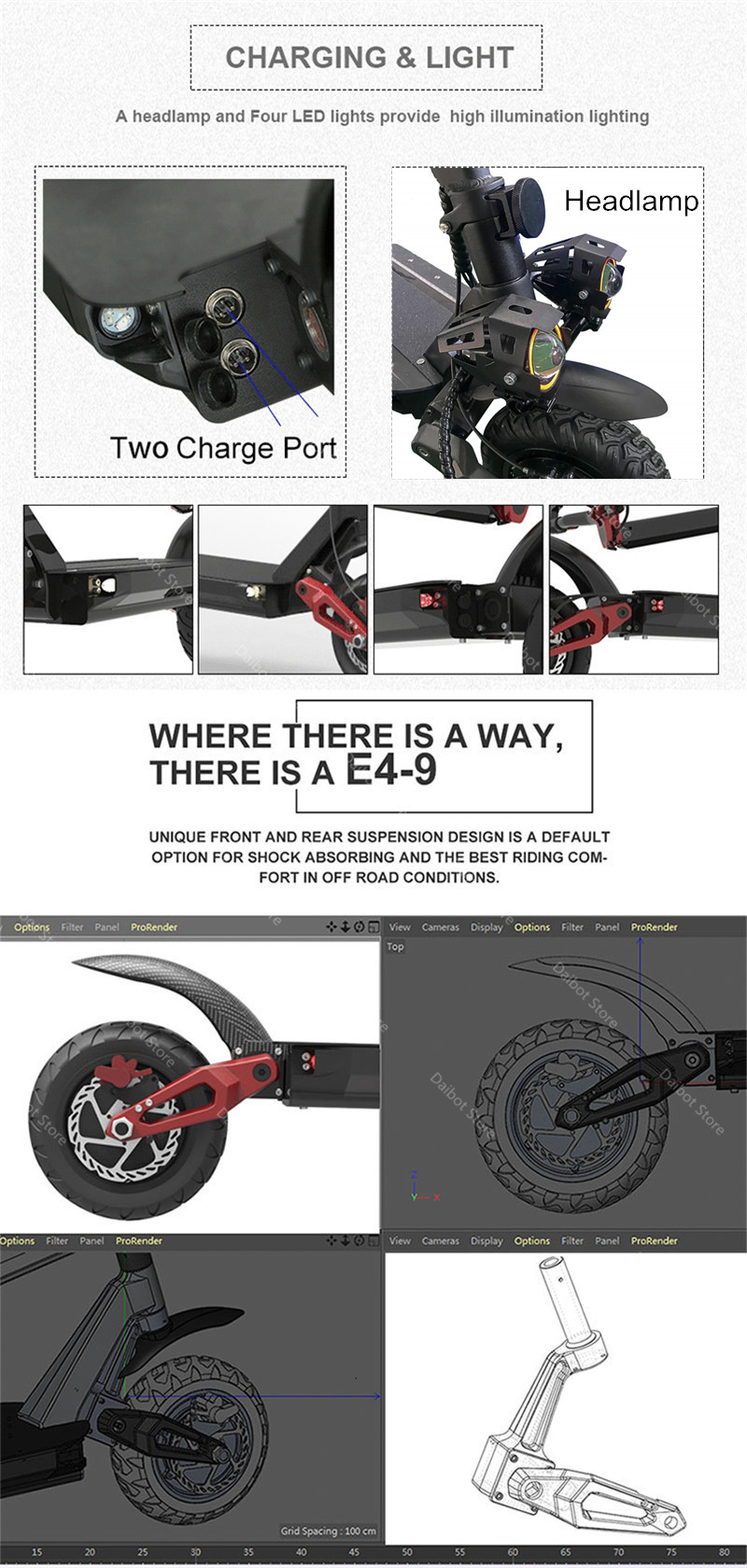 Folding Electric Scooter Adults 2 Wheels Electric Scooters Ecorider E4-9 With Crystal Light 3600W 70KMH Powerful Electric Bike