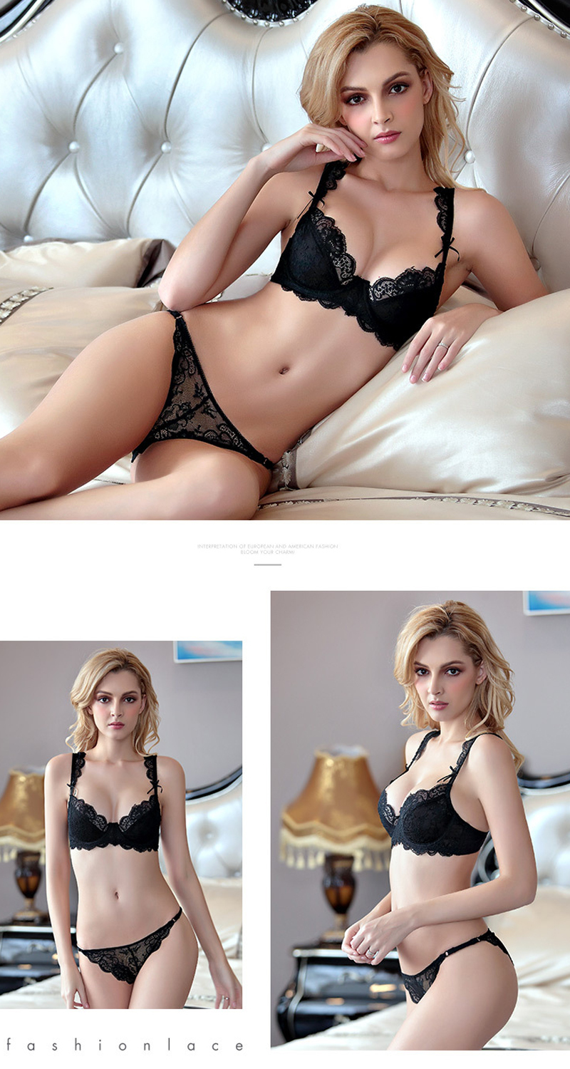 black underwear bra set