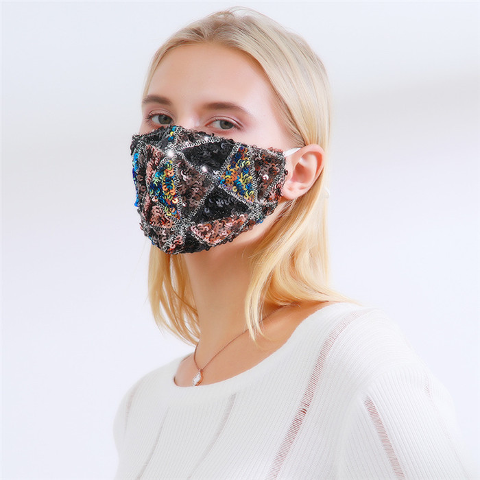 Luxury Sequined Gliter Women Fashion Face Masks Adjustable Earloop Anti Dust Windproof Winter Cloth Mask Can Put PM2.5 Filters FY0113