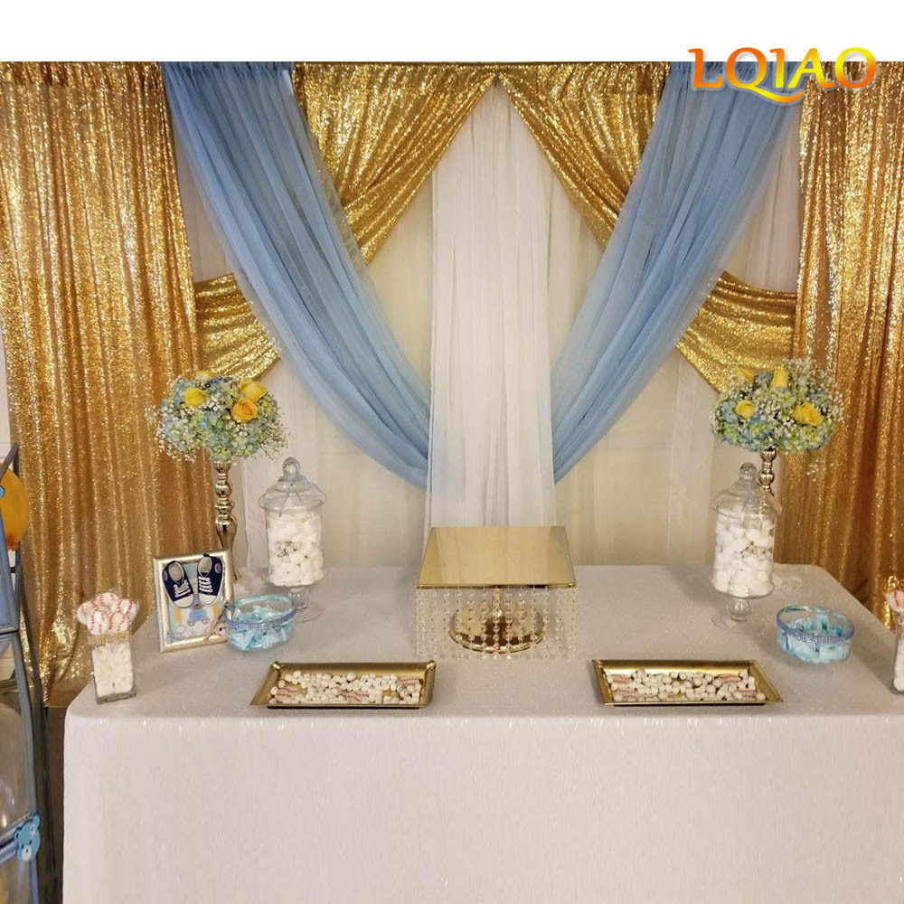 Gold Sequin Backdrop Curtain 2x8ft