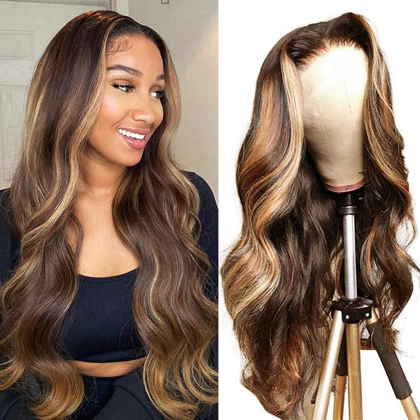 Ishow Highlights P4/27 Body Wave 4x4 Lace Closure Human Hair Wigs 28 34 40inch Omber Pre-Plucked Human Hair Lace Front Wigs for Women
