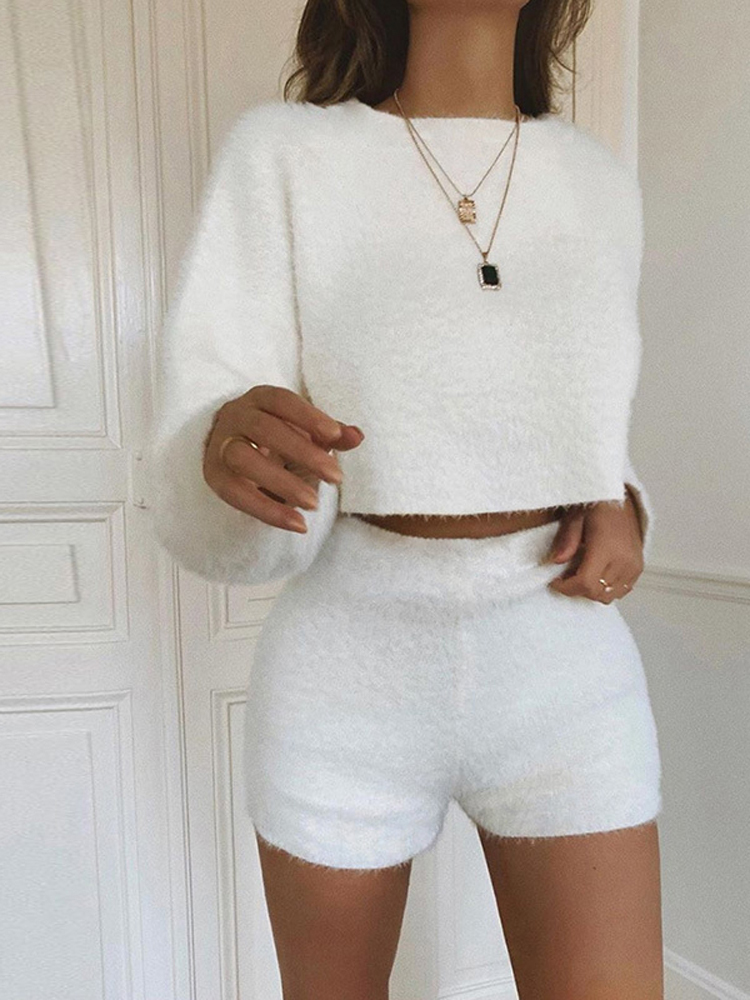 summer-flannel-two-pieces-set-solid-women-streetwear-sweatshirts-crop-top-shorts-outfit-fashion-tracksuit-velvet