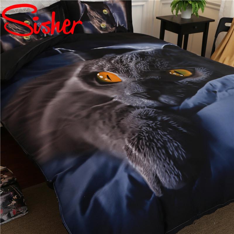 Sisher-Adult-Duvet-Cover-Set-3D-Printed-Animal-Cat-Comforter-4pcs-Bedding-Sets-King-Size-Single (2)